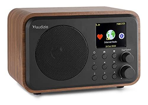 Audizio Venice - Radio por Internet con WiFi y Bluetooth - Radio Reloj Despertador a batería con Control Remoto (Madera)
