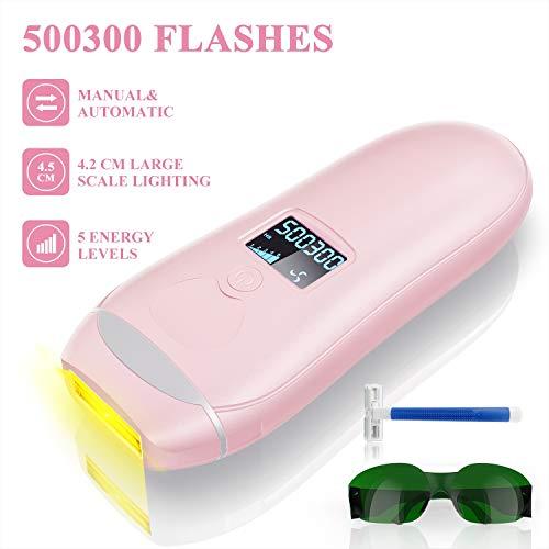 IPL Depiladora de Luz Pulsada, Láser de Depilación Permanente para Cuerpo y Cara 500300 Flashes Dispositivo Láser Profesional sin Dolor para el Hogar