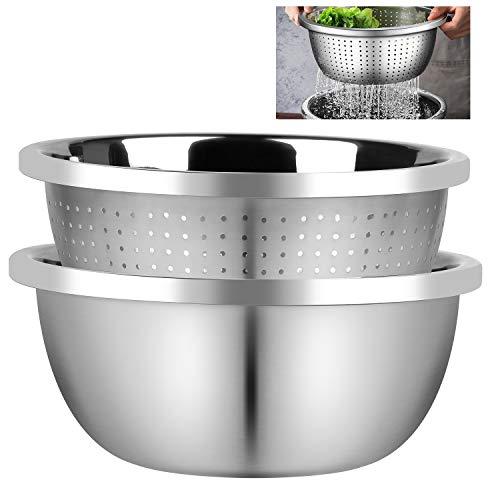 EXLECO 2Stück Edelstahl Sieb und Rührschüssel Set-26mm Salatschüsse Küchensieb Nudelsieb Schüsselset Stapelbar Salatschüsseln Set