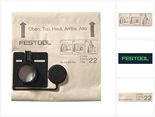 5 stofzuigerzakken FIS-CT/CTL/CTM 22/5, compatibel met CT 22 Festool 452970
