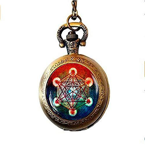 HE PING Metatron's Cube Pocket Watch Necklace, Metatron's Cube Pocket Watch Necklace, Sacred Geometry Pocket Watch Necklace, Geometric Pocket Watch Necklace,Pocket Watch Necklace for Men