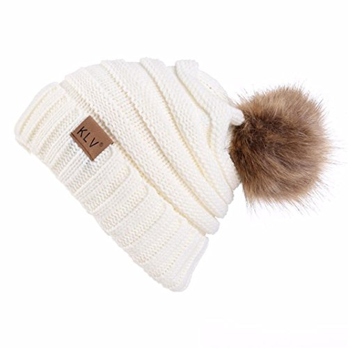SHOBDW Hombres Mujeres Holgados Crochet cálido Invierno Lana de Punto Esqui Beanie cráneo Slouchy Gorras Sombrero (Blanco)