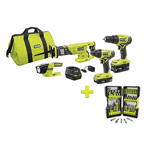 RYOBI P1818-AR2040 18-Volt ONE+ Cordless 4-Tool Combo Kit with (2) Batteries, Charger & Bag w/BONUS Impact Rated Driving Kit (70-Piece)