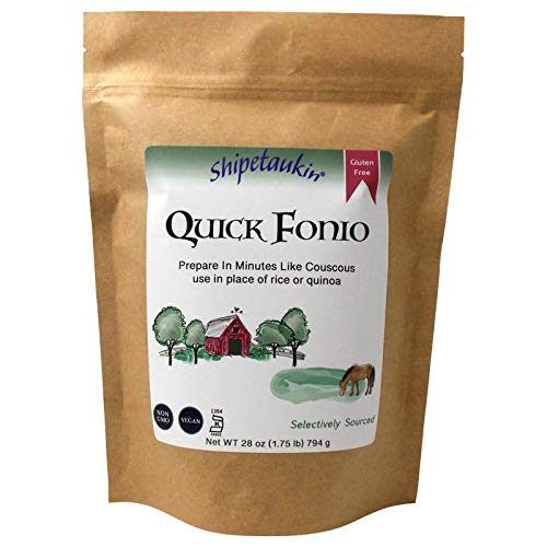 Shipetaukin Quick Fonio African Supergrain - Gluten Free - Vegan - Non GMO - Substitute for Couscous, Quinoa, Rice (28 Ounces)
