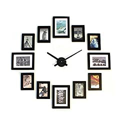 Homeloo Modern 12 Wood Wooden Photo Picture Frame Wall Clock (Full Black)