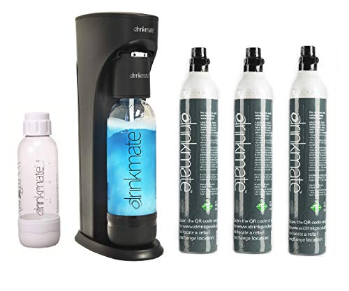 Drinkmate Sparkling Water and Soda Maker, Carbonates Any Drink, ULTIMATE BUNDLE With CO2 and BPA Free Bottles (Matte Black)