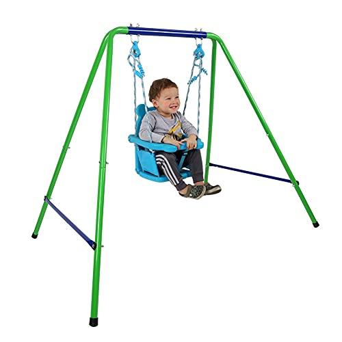 Ochine Toddler Swing Set Outdoor Baby Swing Set Folding Kids Swing Playset Heavy Duty Swing Set with Safety Seat Indoor Outdoor Swing Set with Safety Harness for Backyard Playground(Ship from USA)