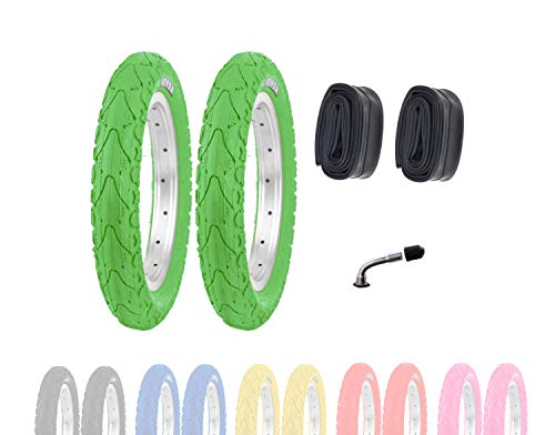 P4B | 2X 12 Zoll Kinderreifen (62-203) | 12 1/2 x 2 1/4 | Laufradreifen mit Breiten Mittelsteg für mehr Stabilität beim Fahren | Ohne Felgen!! (C) Grün mit AV Schläuchen