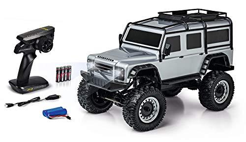 Carson Land Rover Defender 500404172 - Coche teledirigido (Escala 1:8, Incluye Pilas y Control Remoto, Velocidad km/h, Tiempo de conducción: 20 min), Color Plateado