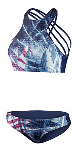 BECO Damen Sportlicher High Neck Schnitt mit Gekreuzten Spaghettiträgern, Herausnehmbare Pads, A und B Cup Bikini Set, mehrfarbig (marine/Bunt), 40