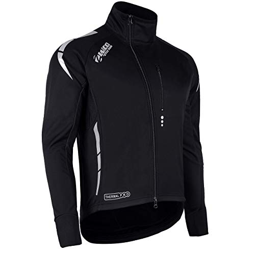 Zimco Pro Men Winter Cycling Jackets High Viz Bicycle Jersey Windproof Thermal Insulated Jacket (3XL, Black)