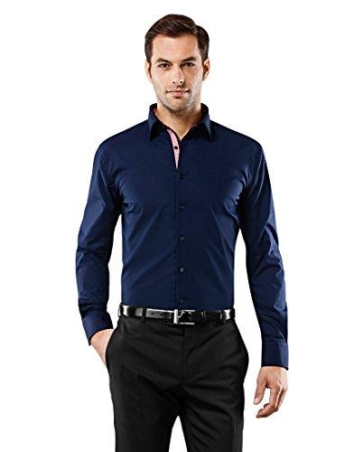 Vincenzo Boretti Herren-Hemd bügelfrei 100% Baumwolle Slim-fit tailliert Uni-Farben - Männer lang-arm Hemden für Anzug Krawatte Business Hochzeit Freizeit dunkelblau/weinrot 39-40