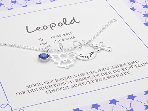 Taufkette Junge Namensgravur MEIN ENGEL KREUZ 925 Silberkette zur Taufe mit Geschenkbox Gravur Geschenkverpackung