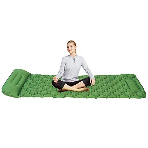 WXCL Tapis de Couchage Portable Gonflable de Camping extérieur de Voyage de avec la Pompe d'oreiller lit Pliant de Sac à Dos de randonnée en Nylon Ultra léger, Vert