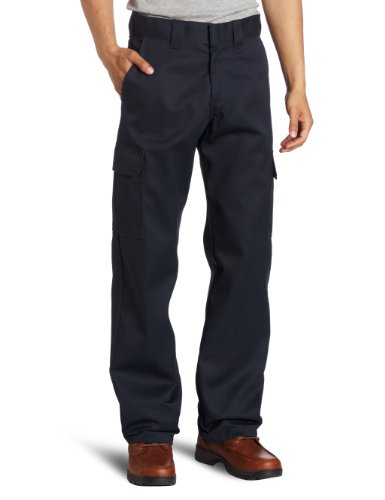 Dickies Men's Relaxed Straight Fit Cargo Work Pant, Dark Navy, 34x32