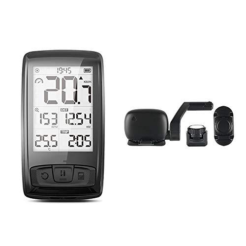 WHTBOX Ciclocomputador Bicicleta,CuentakilóMetros para Bicicleta,Ligero,Carga USB,Recordatorio de Voltaje,Temperatura,Tiempo, Velocidad,Black