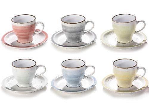 Set mit 6 Kaffeetassen in Pastellfarben aus Keramik mit passenden Untertassen. Fassungsvermögen 90 ml.