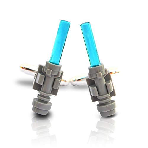 SJP Cufflinks LEGO® Lichtschwert Manschettenknöpfe Star Wars Krieg der Sterne Hochzeit Bräutigam Herrengeschenk Hellblau