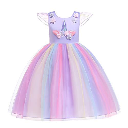 FENICAL Vestido de tutú Unicornio Equipo Cosplay Vestido de Princesa de Cuento de Dibujos Animados para Las niñas púrpura cumpleaños Partido Bailando en Altura de 100cm