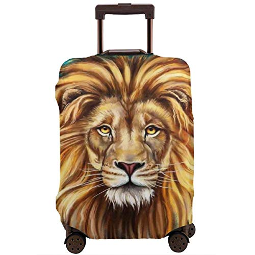 Travel Suitcase Protector Brown Lion Face Animal Head Galaxy Luggage Cover Protective Travel Trunk Case Elastic Suitcase Protector Covers Fits 18-21 Inch Luggage