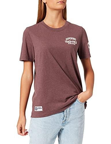 Superdry T&F tee Camiseta, Rich Deep Burgundy Marl, XL para Mujer