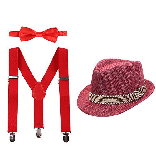 IBAKOM Disfraz de caballero para beb, para boda, cumpleaos, sesin de fotos, con tirantes en forma de Y, pajarita y sombrero, 3 unidades rojo talla nica