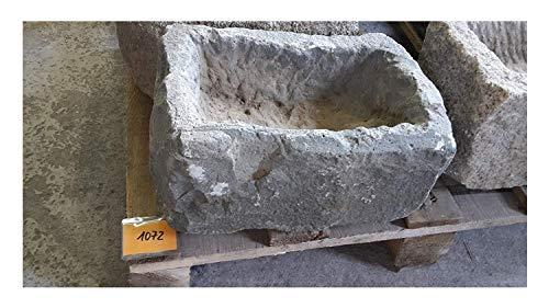 Der Naturstein Garten Alter Trog aus Granit 33 cm lang Brunnen Steintrog - G1072 Granittrog Waschbecken