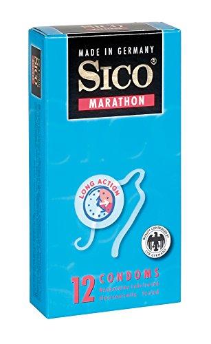 SICO Marathon condones - recubrimiento de benzocaína para relaciones sexuales prolongadas -látex de caucho natural - embalado individualmente en una caja - 3 piezas - Made in Germany