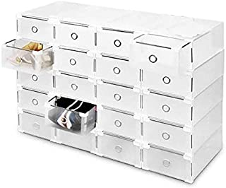 OZSTOCK® Shoe Storage Cases Stackable Foldable Clear Drawer Boxes Home Wardrobe (20PCS)