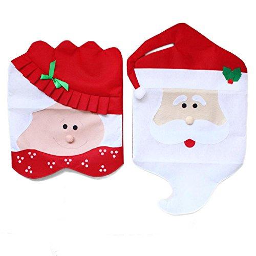 DegGod Set of 2 Mr & Mrs Cubiertas de la Silla Santa Claus Cena sillas Fundas Navidad Decoración para Mesa de...