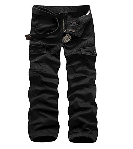 AYG Herren warm polar fleece-hose cargo-camouflage-hosen verdicken schwarz # k1005 36w / 33l