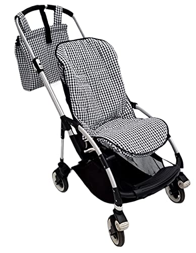 Conjunto colchoneta o funda y bolsa panera para silla carrito Bugaboo Bee. Vichy negro