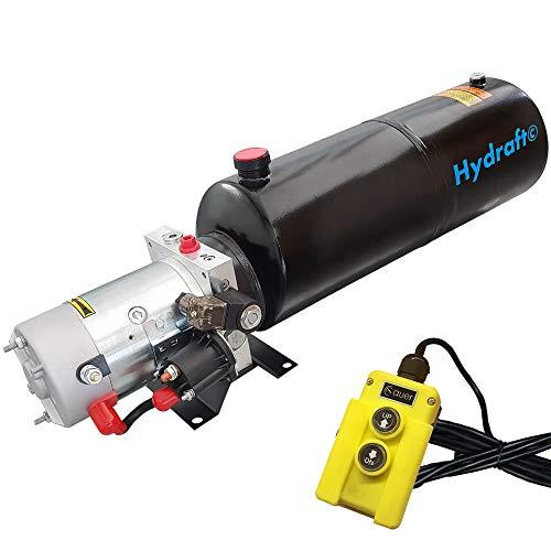 Hydraulikaggregat HYDRAFT, Hydraulikpumpe 12 V 180 bar 2000 Watt mit 12 Liter Stahltank und Kabelfernbedienung