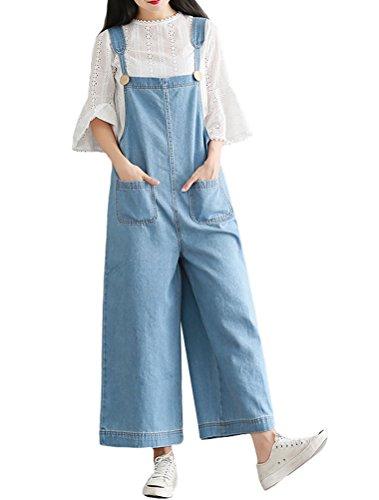 MatchLife MatchLife Damen Breite Beine Hosen Loose Denim Jeans Jumpsuit Latzhose allgemeins Style4-Hellblau Fits Größe 34-42