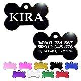 Hueso para Mascotas pequeñas-Medianas Placa Chapa Medalla de identificación Personalizada para Collar Perro Gato Mascota grabada (Negro)
