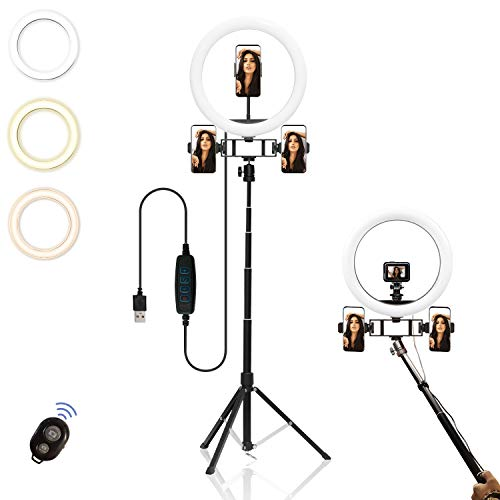 """12"""" LED Ring Light with Extendable Tripod Stand& Phone Holder& Selfie Stick. 3 Dimmable Colors, 10 Adjustable Brightness, Bluetooth Remotes for Vlogging/Makeup/Portrait Shooting with 3 Phone Holders"""