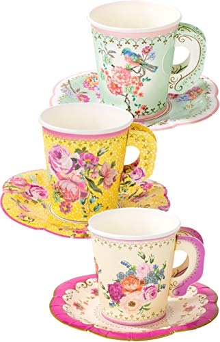 Talking Tables Truly Scrumptious Party Vintage Floral Tea Cups and Saucer Sets, Pack of 12, Height 8cm, 3