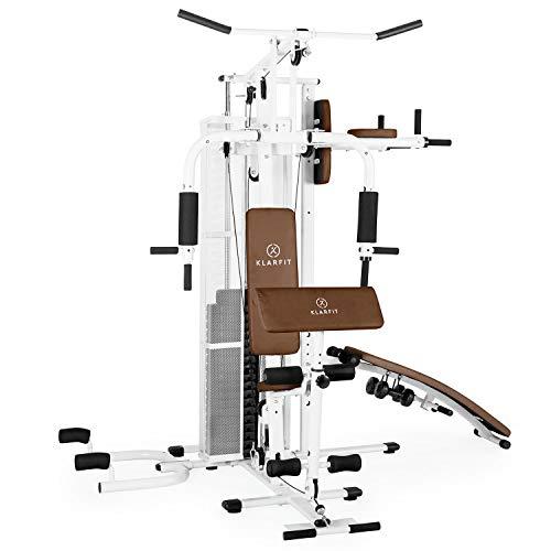 Klarfit Ultimate Gym 5000 - Kraftstation, multifunktionale Fitnessstation für Ganzkörpertraining, für mehr als 50 Übungen, Crunchbank, Butterfly-Modul, Zugstange, inkl. Gewichte, weiß