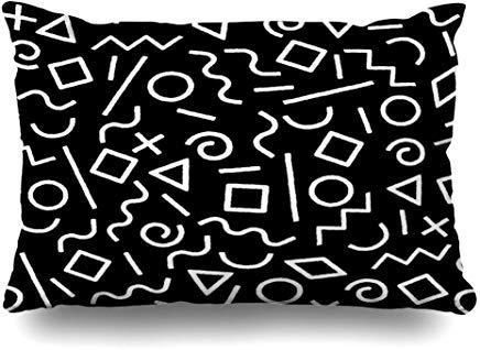 GFGKKGJFF0807 Geo Black White Memphis Abstrakte Geometrie Formen 80S 90S Circle Doodle Funky Kissenbezug 40x60 cm für Home Decor Sofa Throw Kissenbezug Weihnachten Geburtstag Geschenk Idee