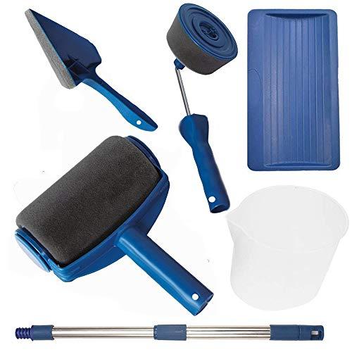 Paint Runner Pro Rouleau de peinture avec manche floqué, outil de peinture murale pour la maison, le bureau, le jardin Multifonction avec manche dextension
