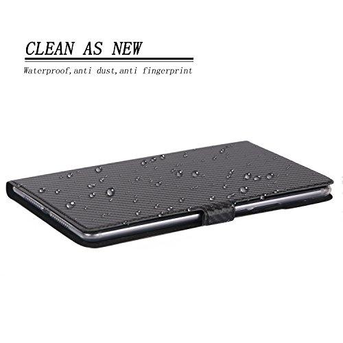 """Premium Carbonfaser Textur Schutzhülle Cover für Huawei MediaPad M5 8,4 SHT-W09 SHT-L09 SHT-AL09 8,4"""" Android Tablet PC mit Kartenschlitzen(Schwarz)"""