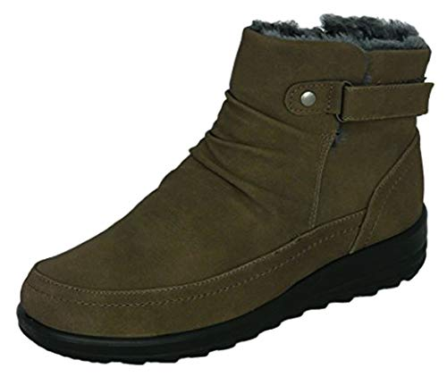 Cushion Walk Womens Side Zip Comfort Fit Winter Boots in Brown - Paige (Numeric_6)