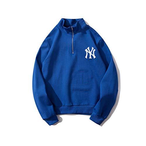 Herfst en Winter Hooded Sweatshirt Jas Hooded Pullover Unisex Hoodies Print Pullover Letter Print Stand kraag Rits Paar Coltrui Sweatshirts met zakken voor Mannen Vrouwen, MT L Blauw