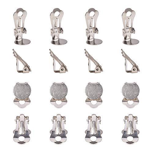PandaHall 20 pz convertitore con Clip a Clip in Ottone impostazione di vassoi Piatti Rotondi per orecchino Non Forato,Platino,Vassoio: 10mm