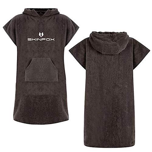 SKINFOX Bademantel Graphite-schwarz Poncho 100% Baumwolle hochwertige Qualität