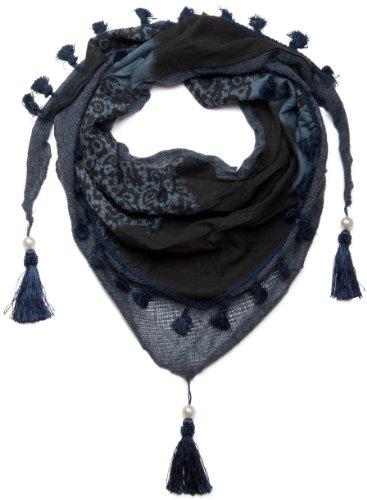 styleBREAKER bedrucktes Dreieckstuch mit Quasten und Perlen 01020016 (180 x 50 cm, Blau)