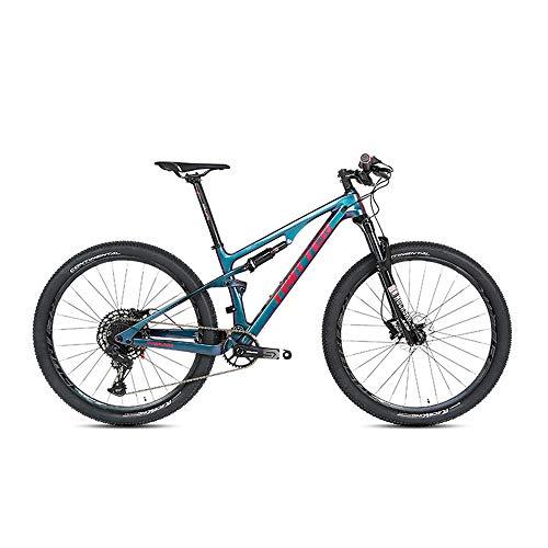 YALIXI Bicicleta de montaña Hombres y Mujeres Doble Cola Amortiguador Fibra de Carbono Bicicleta Adulta 29 Pulgadas neumático decoloración Marco