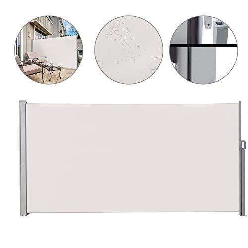 SUNDUXY Weiß Seitenmarkise Ausziehbar Seitenwandmarkise Seitenrollo Sonnenschutz Sichtschutz Windschutz Balkon Garten Terrasse 160x300cm