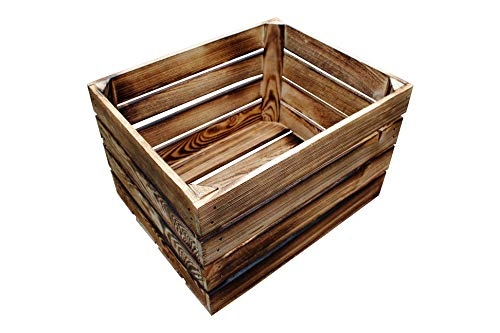 MigiEinkauf 4 Stück Neue geflammte Holzkisten Obstkisten Apfelkisten Weinkiste - 4er Set