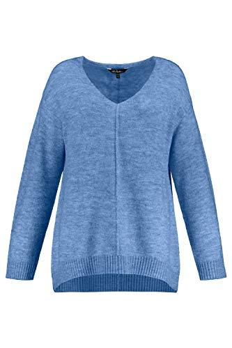 Ulla Popken Damen große Größen Pullover hellhimmelblau-Melange 54/56 725023 72-54+